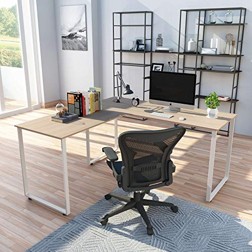 "L-Shaped Office Workstation 59"" Computer Desk Corner Desk Home Office PC Wood Laptop Table Study Desk"