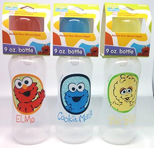 3 SESAME BEGINNINGS 9 oz bottle pack Big Bird, Elmo, Cookie Monster BPA Free