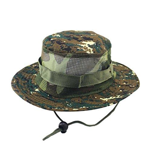 Y56 - Gorra de camuflaje ajustable para hombre, para camuflaje, para camping, al aire libre, camping, pescador, ejército nepaleso, capó, al aire libre, pescador, protección solar, cubo de malla para c D