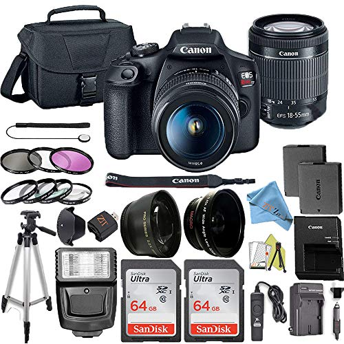 Canon EOS Rebel T7 DSLR Camera Bundle with Canon 18-55mm Lens + 2pc SanDisk 64GB Memory Cards + Accessory Kit