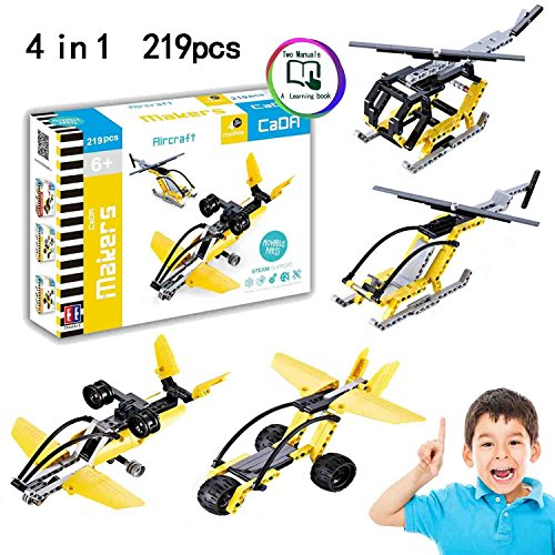 Hosim Building Blocks Toys, 219pcs 4 in 1 Planes Building Blocks Set with 4 Unique Models Bricks Assembly Toys - DIY Fun Airplane Brick Toys - Fun Education & Learning Toys Great Gift for (4in 1 Fun Pack)