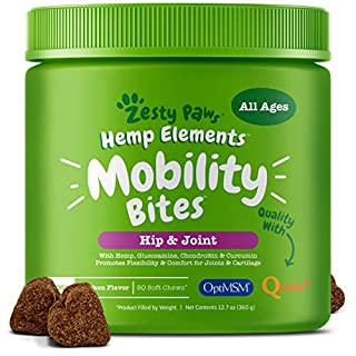 Glucosamine for Dogs with Hemp - Hip & Joint Dog Supplement with Chondroitin, Curcumin, Organic Turmeric & MSM + Omega 3 - Soft Chews for Mobility and Arthritis Relief for Hips & Joints - 90 Count
