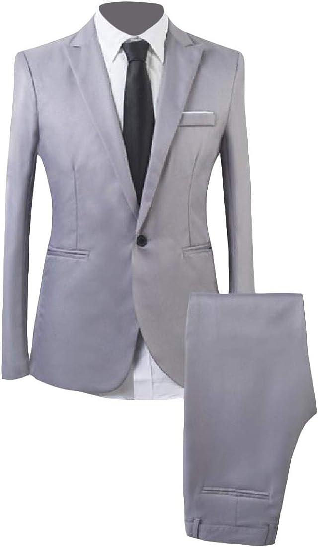 Abetteric Mens Plus Size Lapel Button Pure Colour Slim Leisure 2-Piece Suit Set