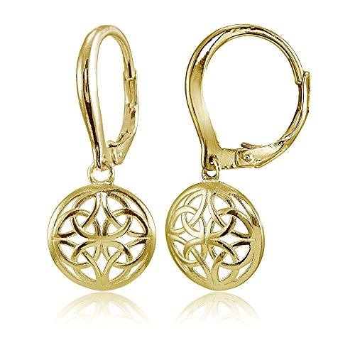 Yellow Gold Flashed Sterling Silver High Polished Filigree Round Dangle Leverback Earrings