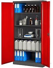 Domator24 Oficina C001 H Armario de Archivio Metálico 4 Estantes Recubrimiento en Polvo Chapa de Acero 195 cm x 90 cm x 40 cm (Antracita/Rojo)