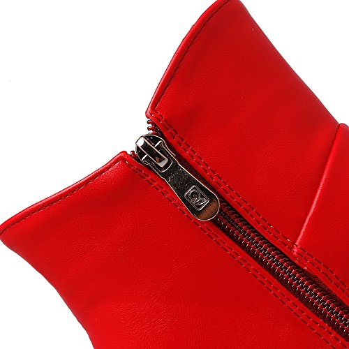 Solid Toe Closed Round Zipper High Red Women's Boots Allhqfashion Heels qRwatOnY