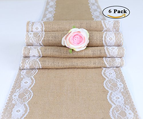 TRLYC Pack of 6 Wedding 12 by 108-Inch Burlap Table Runners Wedding Table Runners