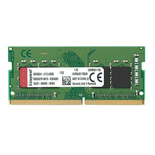 Kingston Technology ValueRAM 8GB 2400Mhz DDR4 Non-ECC CL17 SODIMM 1Rx8 (KVR24S17S8/8) - Kingston Laptop