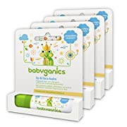 Babyganics Organic Lip and Face Balm, Fragrance Free, 0.25oz Stick (Pack of 4)