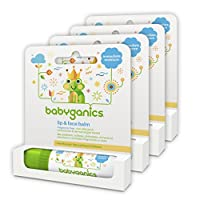 Babyganics Organic Lip and Face Balm, Fragrance Free, 0.25oz Stick (Pack of 4...