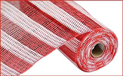 10 inch x 30 feet Deco Poly Mesh Ribbon - Metallic Foil Red White Stripe (Geo Mesh Red)