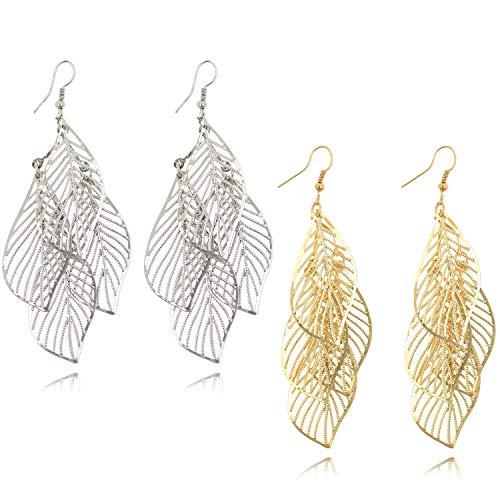 Gold Hollow Leaf Chandelier Drop Dangle Earrings Fashion Jewelry for Women Girls