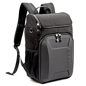 Evecase Shell DSLR Camera / 15.6-inch Laptop Water Resistant Backpack Travel Daypack w/ Rain Cover and Inner Bag for Nikon Canon Fujifilm Sony Digital SLR, Mirrorless Camera and More – Black