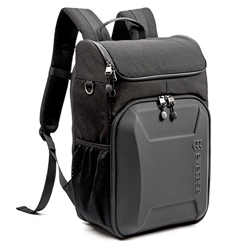 Digital Camera Backpack Bag - Evecase Shell DSLR Camera / 15.6-inch Laptop Water Resistant Backpack Travel Daypack w/ Rain Cover and Inner Bag for Nikon Canon Fujifilm Sony Digital SLR, Mirrorless Camera and More – Black