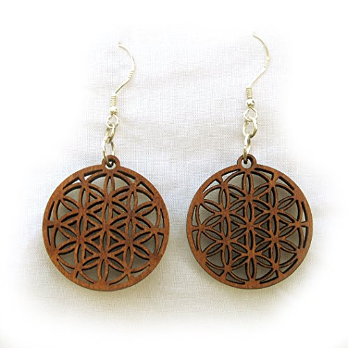 - Wooden Earrings Flower of Life with silver hooks 7-circle, Sacred Geometry Yoga Jewellery
