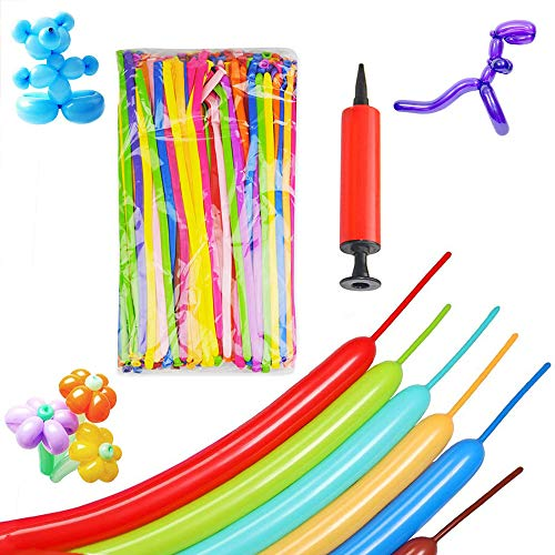 200PCS Long Magic Balloons Latex Twisting Balloon Animals Shape Weddings Birthdays Clowns Party Decorations with Pump (Clown Shape)