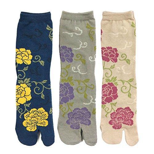 (Wrapables Tabi Flip-Flop Socks (Set of 3), Rose & Peony, Dark Blue, Gray, Beige)