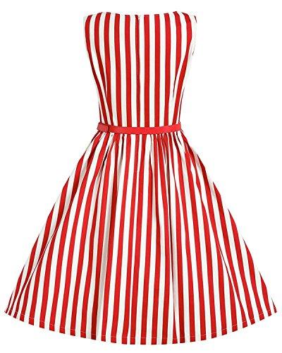 babyonlinedress Retro de sin mangas de mujer vertical rayas una línea corto vestidos de verano Beach Party Rosso