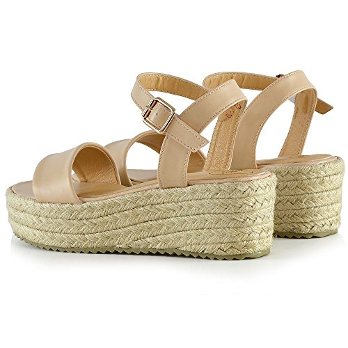 Essex Glam Sandales Plate-forme Plate Coin Cheville Sangle Espadrilles Chaussures Cuir Synthétique Nude