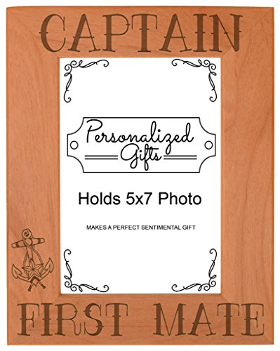 (ThisWear Nautical Gift Sail Captain First Mate Anchor Natural Wood Engraved 5x7 Portrait Picture Frame Wood)