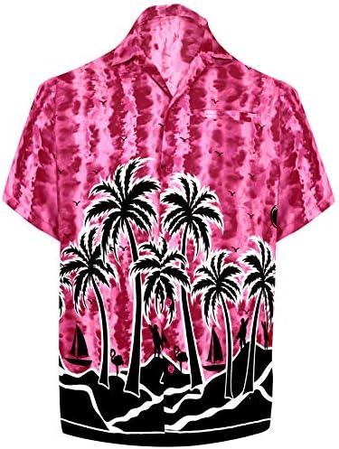 LA LEELA | Funky Camisa Hawaiana | Señores | XS - 7XL | Manga Corta | Bolsillo Delantero | Impresión De Hawaii | Playa | Palmera Rosa_W408 6XL - Pecho Contorno (in cms) : 172-178: Amazon.es: Ropa y accesorios