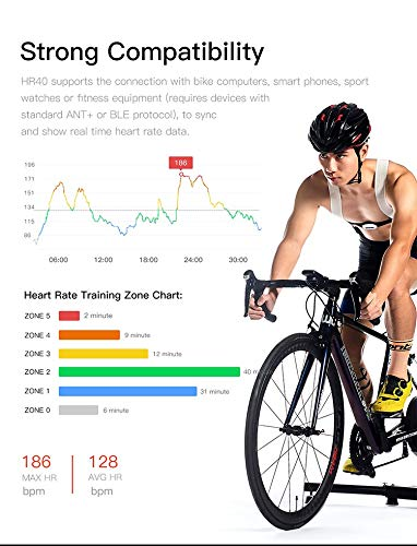 IGPSPORT HR40 Bluetooth//ANT Heart Rate Moniter with Chest Strap Fitness Tracker Wireless Compatible with iPhone Android Devices