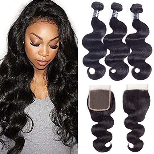Amella Hair 8A Unprocessed Brazilian Body Wave Bundles with Closure (16 18 20 +16Closure,Natural Black) Virgin Brazilian Hair Bundles Weave with Lace Closure Free Part (Best Weave For Natural Hair)