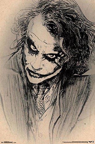 BATMAN DARK KNIGHT JOKER POSTER Amazing Sketch - Heath Ledger RARE HOT NEW 22x34 -