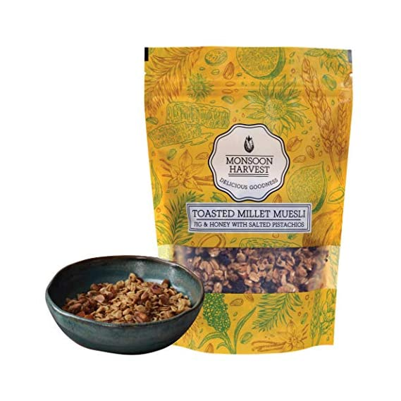 Monsoon Harvest Toasted Millet Muesli, Fig & Honey with Salted Pistachios, 250 g