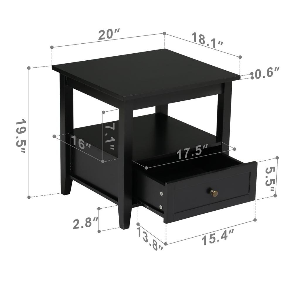 Yaheetech Black Wood End Table/Night Stand with Drawer and Open Shelf for Storage Bed/Chair/Sofa Side Table by Yaheetech (Image #1)