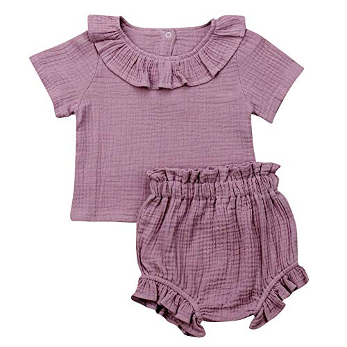 - Baby Girls Solid Color Cotton Linen Short Sleeve Ruffle T-Shirt Top and Shorts Outfit Set (12-18M, Purple)