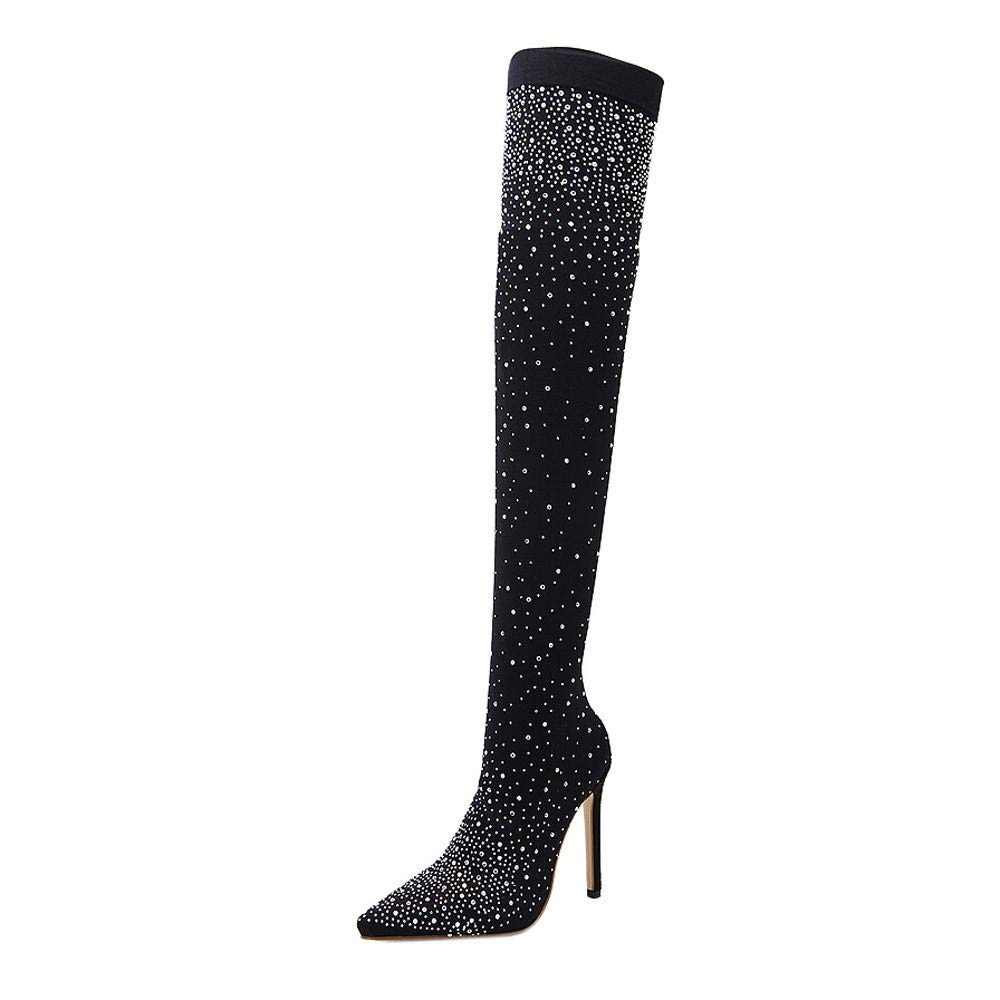 Kauneus Womens Bling Bling Rhinestone Over The Knee Sock Boots Pointed Toe Stiletto Ballroom Party Night Club Sexy Boots Black by Kauneus Fashion Shoes