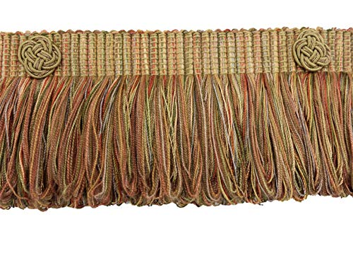 - DÉCOPRO Light Bronze, Olive Green, Terracotta Baroque Coll 3 Inch Loop Fringe W/Rosette Style# 3LFBR Color: Chaparral - 5615 (Sold by The Yard)