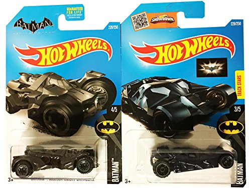 Hot Wheels 2016 Batman The Dark Knight Batmobile (Navy Blue) & Batman Arkham Knight Batmobile 2-Car Bundle (Homer Simpson Muscle)
