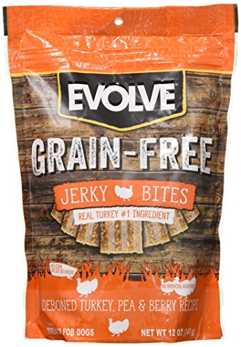 Evolve Grain Free Deboned Turkey, Pea & Berry Recipe Jerky Bites, Small