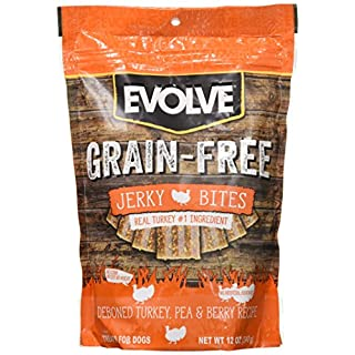 Evolve Grain Free Deboned Turkey, Pea & Berry Recipe Jerky Bites, Small