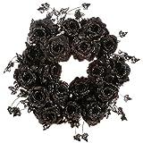 """Raz Black Roses Gothic Magic 20"""" Floral Wreath"""