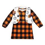 Mayunn (1Y-7Y) Kids Baby Boys Girls Halloween Plaid Printed Dress+Reversible Coat Vest Set Suit Outfits