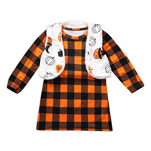 Mayunn (1Y-7Y) Kids Baby Boys Girls Halloween Plaid Printed Dress+Reversible Coat Vest Set Suit ()