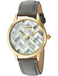 Akribos XXIV Womens Gold-Tone Mother-of-Pearl Mosaic Dial with Grey Glove Style Genuine Leather Strap Watch AK906GY