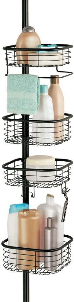 mDesign Metal Bathroom Shower Storage Constant Tension Pole Caddy - Adjustable Height - 4 Positionable Baskets - for Organizing and Containing Hand Soap, Body Wash, Wash Cloths, Razors - Black