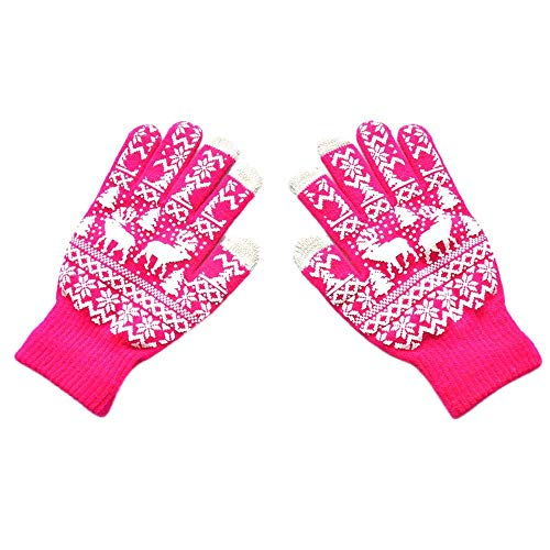 WUAI Christmas Knit Gloves Winter Warm-up Christmas Tree Elk Pattern Full Fingers Thicken Cute Soft Screen Gloves(Hot Pink,Free Size)