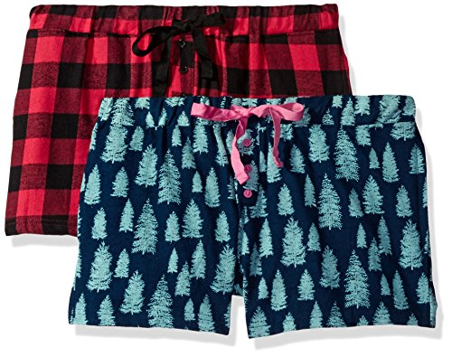 Bottoms Out Women's Flannel Sleep Short (Pack of 2), Set 5, - Flannel Shorts Boxer