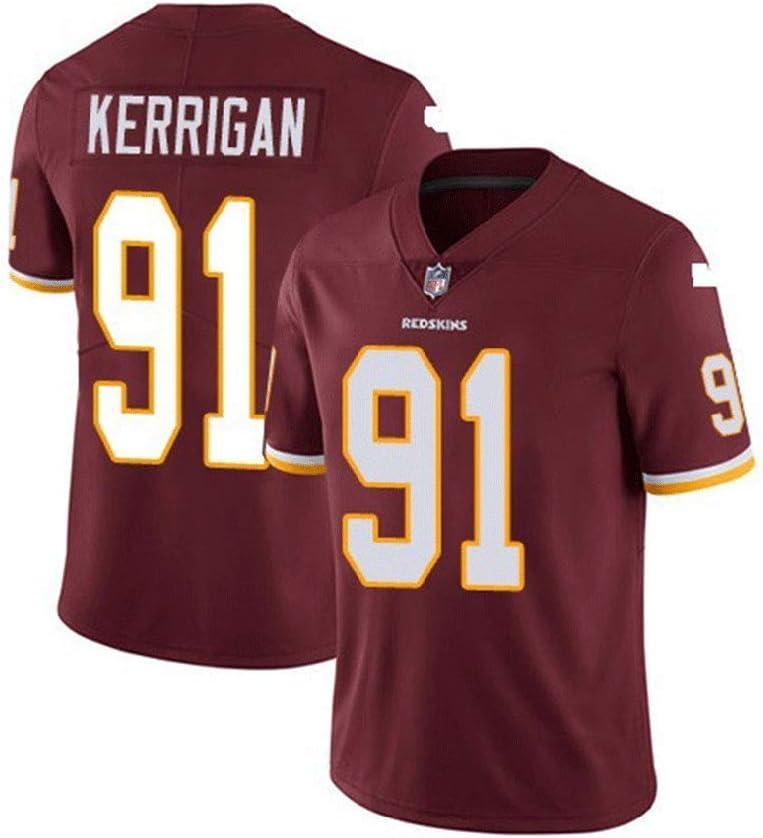 Pilang MenS Rugby Short Sleeve Washington Redskins American Football Sportswear Ryan Kerrigan #91 Casual T-Shirt Clothing