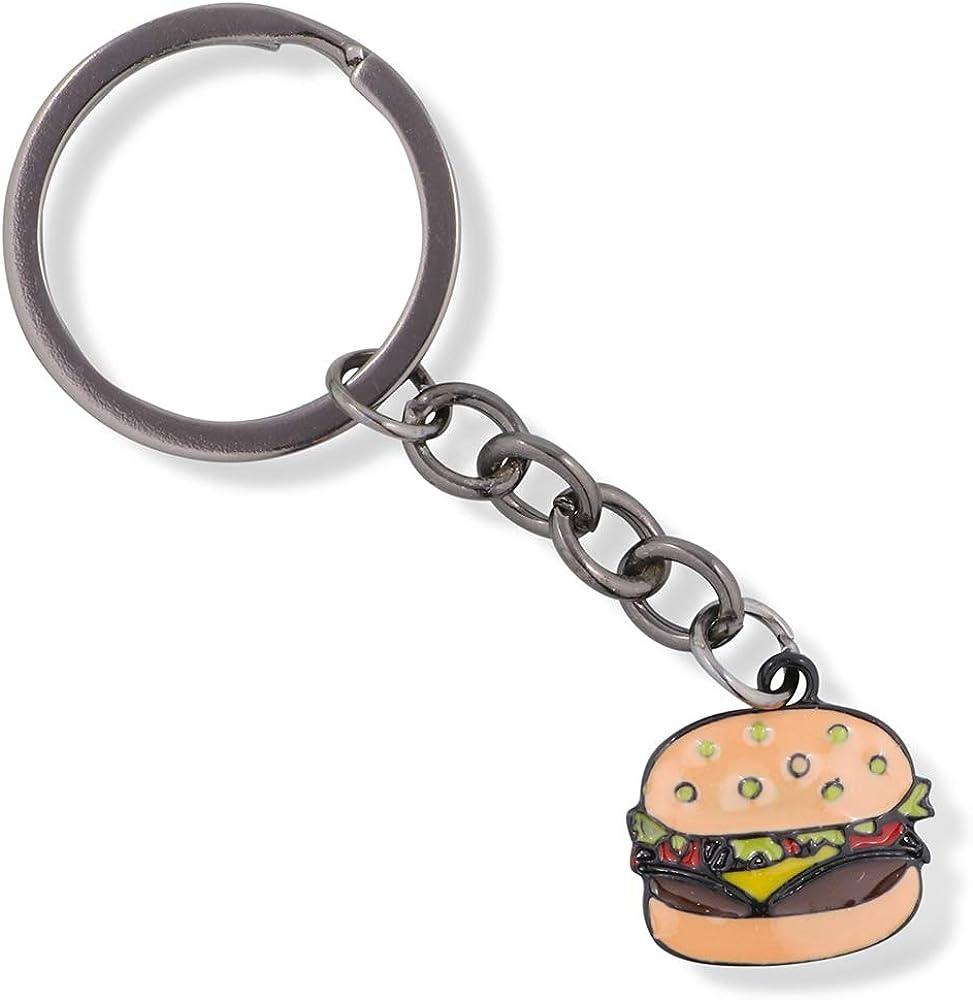 Hamburger Enamel Coloured Charm Keychain