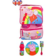 Peppa Pig Extensible BackPack, Officially Licensed (With Plate,Bottle Fork & Spoon)