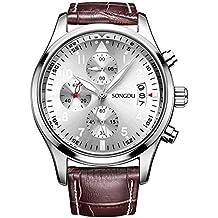 SONGDU Mens Fashion Business Casual Multifunction Chronograph Quartz Wrist Watch Leather Band – Brown