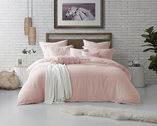 Sham Comforter - Swift Home Microfiber Washed Crinkle Duvet Cover & Sham (1 Duvet Cover with Zipper Closure & 2 Pillow Shams), Premium Hotel Quality Bed Set, Ultra-Soft & Hypoallergenic - Full/Queen, Rose Blush