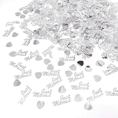 JZK 4 Pack Plastic  Just Married  Heart Silver Wedding Confetti Throwing Dinner Table Scatter Wedding Table Decoration -