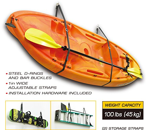 FITOOL Kayak Storage System, Canoes Wall Rack Holders, Adjustable Storage Straps Garage Hangers, 100LBS(45KGS) Weight Capacity, Skiing Board, Ladder, Canoes, Kayak Wall Mount Storage System by FITOOL (Image #2)